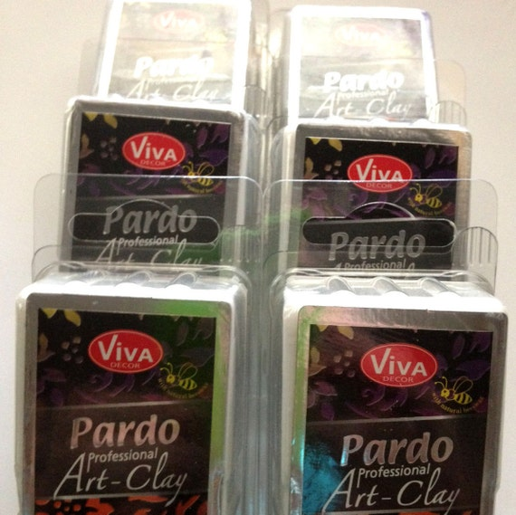6 pack Pardo Professional Translucent  - Translucent Art Clay by Viva Decor - , make beautiful faux beach glass and more