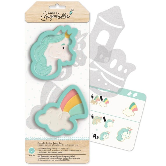 Sweet Sugarbelle 7 pc enchanted  shape shifters cookie cutters set includes unicorn and rainbow cutters, templates, and instruction card