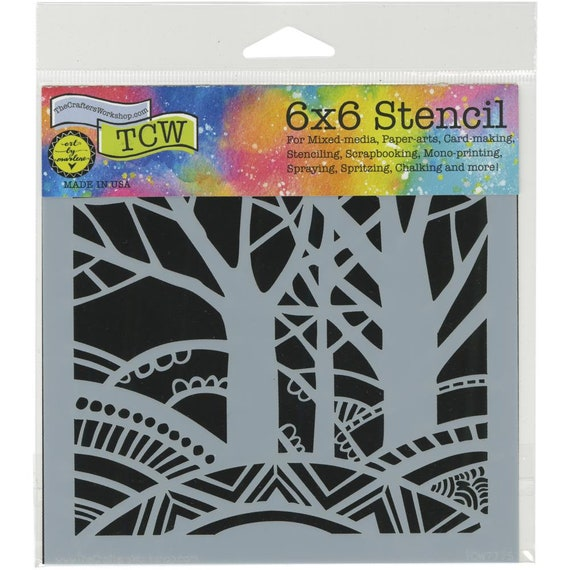 "Tree Paradise 6"" x6"" Stencil /  template design perfect for mixed media, scrapbooking, journaling and so much more"