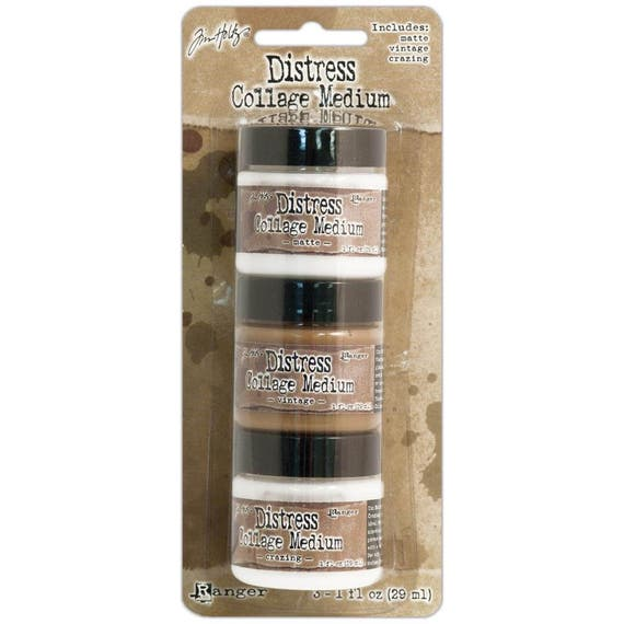 Tim Holtz Distress Collage Mediums 3/Pkg includes 1oz each of Matte, Vintage and Crazing. perfect for scrapbooking, journaling, mixed media