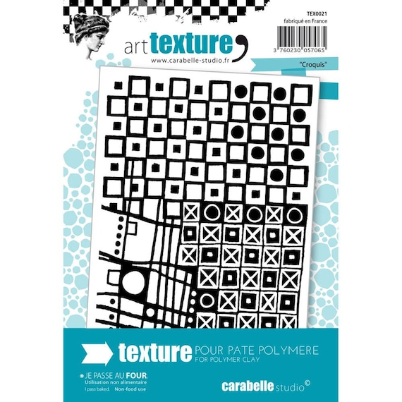 Croquis, sketch unmounted Art texture stamp great for polymer clay and other crafts