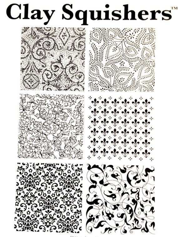 Clay Squishers #9, rubber stamp titled flourish