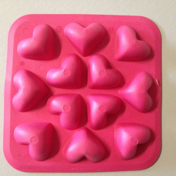 12 Heart mold, 3D food safe silicon push mold for resin, fondant, cake decorating, soap, candy, and even polymer clay