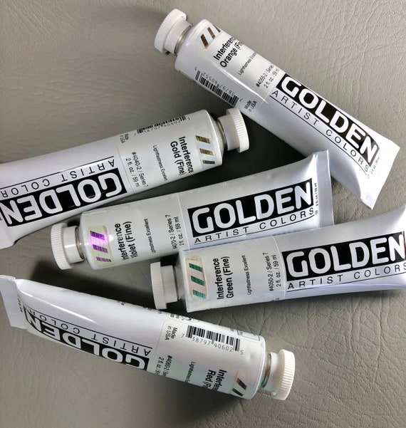 Interferance paints Goldens' Heavy Body Collection this Profesional grade interferance acrylic paint for creating high quality results