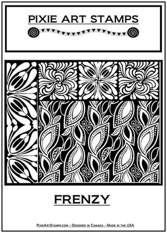Frenzy fine art texture stamp by Helen Breil. Unmounted stamp great for polymer clay, resin clay, stamping and embossings