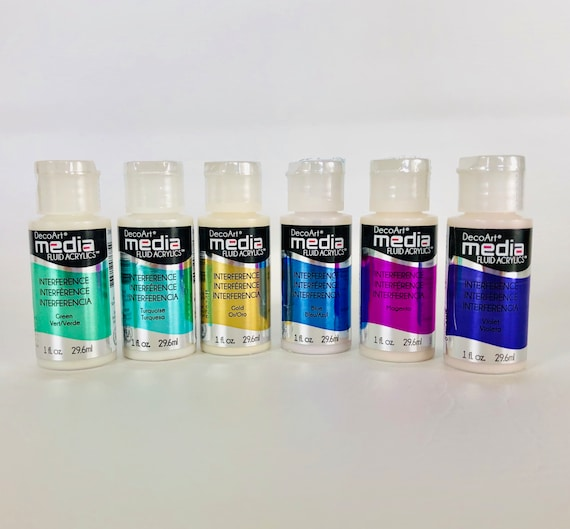 6 piece set of Interference DecoArt acrylic paint, DecoArt Media fluid arcylic collection enjoy these 6 great special effect colors