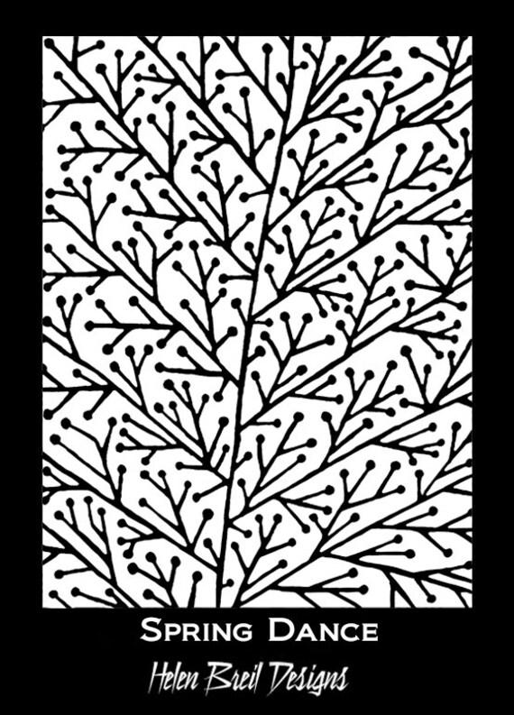 Silkscreen by Helen Breil, spring dance a beautiul crisp designs perfect for silkscreening on polymer clay
