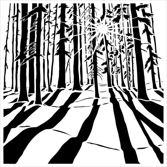 "Sunlit Forest, 6""x6""  Stencil /  template a Carmen Medlin design perfect for mixed media, scrapbooking, journaling and so much more"