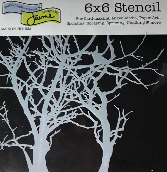 """Tree branches 6 x 6"""" Stencil /  template a Jaime Echt design perfect for mixed media, scrapbooking, journaling and so much more"""