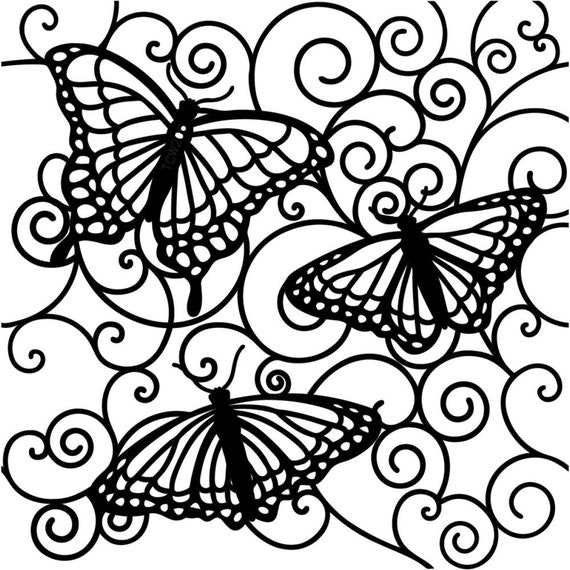 """Futterby, Butterfies  6 x 6"""" Stencil /  template a Jaime Echt design perfect for mixed media, scrapbooking, journaling and so much more"""