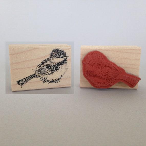 "Happy little Chickadee, 2"" x 1/2"" mounted rubber stamp this precious little chickadee will make you sing"