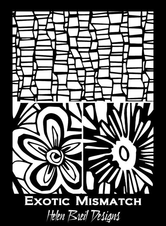 "Silkscreen by Helen Breil, ""Exotic Mismatched"" a beautiful crisp designs perfect for silkscreening on polymer clay"
