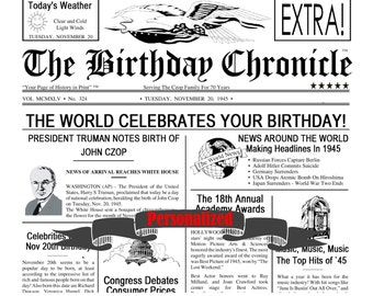Personalized 65th Birthday Gift Time Capsule 65 Idea 11 X 14 DIGITAL DOWNLOAD JPG