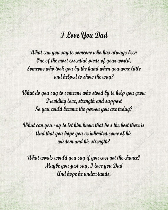 Items similar to I Love You Dad Poem Father's Day 8 X 10 ...I Love My Dad Poems That Will Make You Cry
