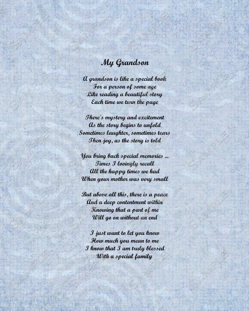 Grandson Poem Love Poem 8 X 10 Print image 0