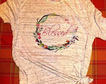 Blessed Shirt - Mom Shirt - Blessed Mom - Faith Shirt - grateful thankful blessed - blessed tee - blessed tshirt