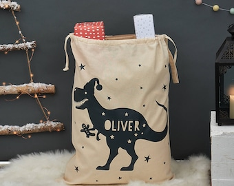 Personalized T Rex Christmas Sack