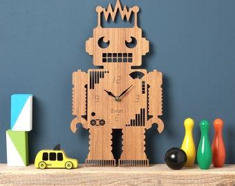 Robot Wall Clock, Robot Modern Clock, Childrens Clock, laser cut by Owl & Otter