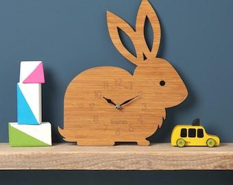 Rabbit Clock, Modern Wall Clock, Children's Clock, laser cut by Owl & Otter