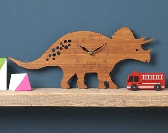 Dinosaur Wall Clock, Triceratops Modern Clock, Childrens Clock, laser cut by Owl & Otter