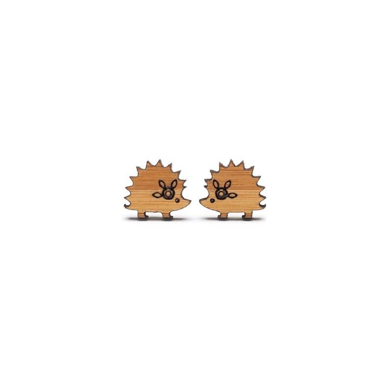 Bamboo ecofriendly Hedgehog Earrings image 0