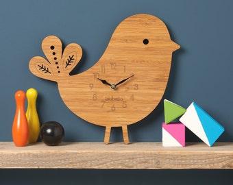 Bird Wall Clock,  Modern Clock, Childrens Clock, laser cut by Owl & Otter