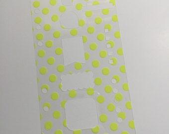 Personal size basic stencil - YELLOW polka dots