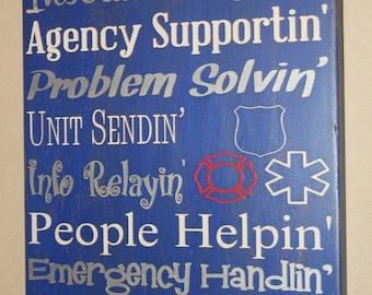 Dispatcher Sign,  911 Dispatcher Sign, Dispatcher Decor, Distressed Wood Sign, 911 Dispatcher, Dispatcher - 911 Answerin Dispatcher