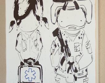 Soldier Sign, Paramedic Sign, Cutie Couple EST Sign, Paramedic Soldier Couple - Cutie Military Paramedic/EMT Couple by YuYuArt