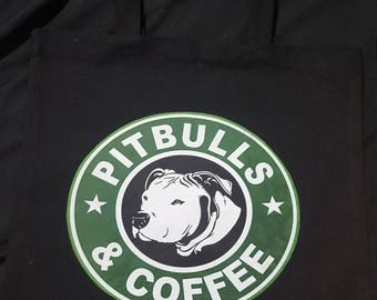 Pitbulls & Coffee Black Tote
