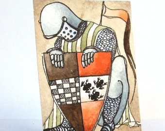 """The Knight Of Toads - card from """"Discarded Tales"""" ACEO series, #9"""