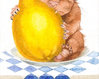 "Original ""Lemon Demon"" watercolor postcard signed by Andy & Dinka Nechaevsky"