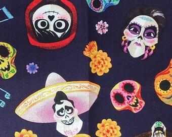 * Perfect Print for Face Masks 36\u00d743 18\u00d743 * Half Yard * Full Yard 9\u00d743 Disney Coco Fabric* 100/% Cotton* Quarter Yard