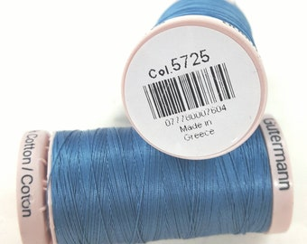 100/% cotton Gutermann Guterman  hand quilting thread Color blue   5133 200 meters  220 yards Strong 40 weight 3 ply glazed cotton