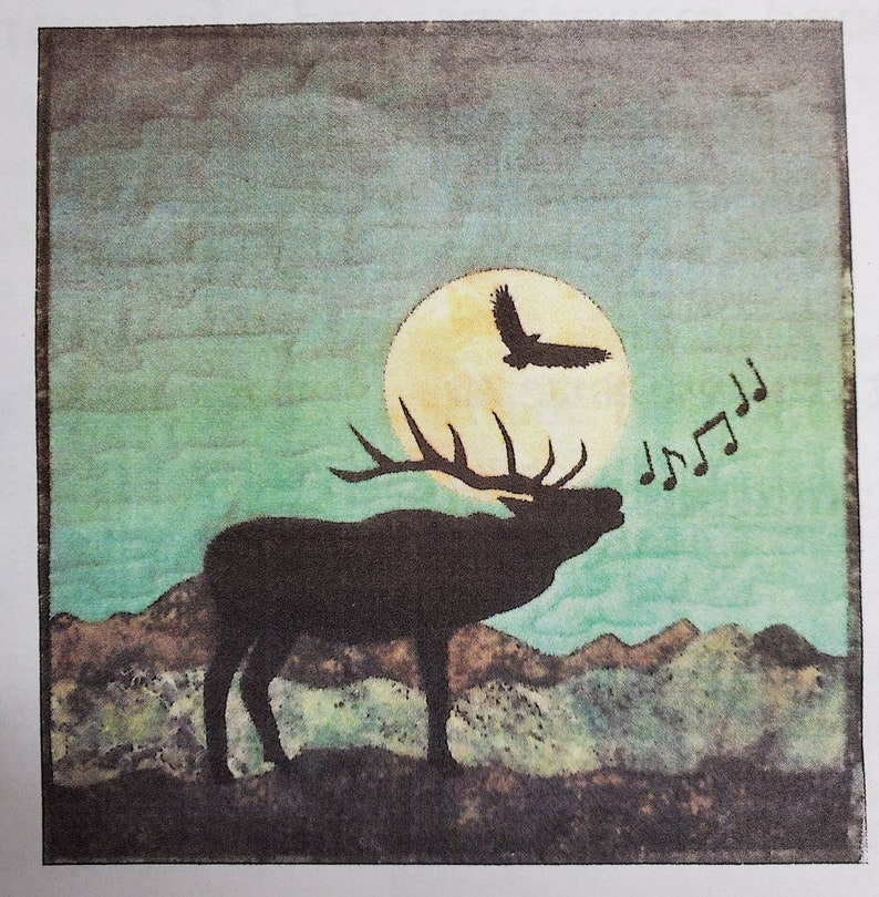 18 x 18 Gift as is or made up. Elk wallhanging kit Approx Pre-cut fusible elk and music notes as well as all fabrics for the front