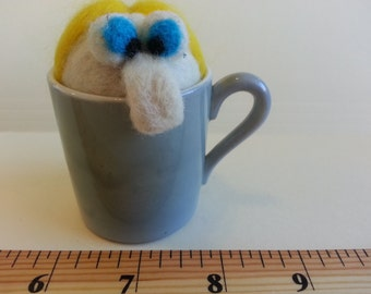 Hand needle felted wool pincushion, Blonde headed dude just chillin in a cup