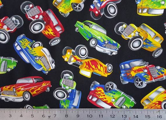 100/% Cotton Fabric Timeless Treasres Vintage American Hot Rod Car Pickup Vehicle