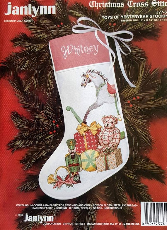 Bucilla Christmas Stocking Kits.2 Christmas Stocking Kits Bucilla And Janlyn Rocking Horse Gifts Teddy And Santa At Fireplace Cross Stitch And Stuffed Felt With Sequins