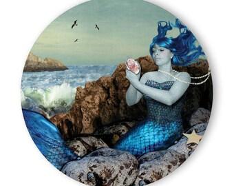 Mermaid on Rocks - Pocket Mirror