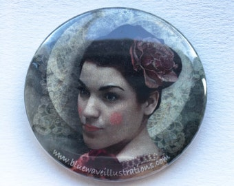 Woman with Rose - Pocket Mirror