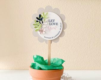 Let Love Grow Plant Pick, Succulent Plant Wedding Favor Pick, Personalized 3D Favor Pick, Wedding Cupcake Pick, Succulent Tags, 12 Picks