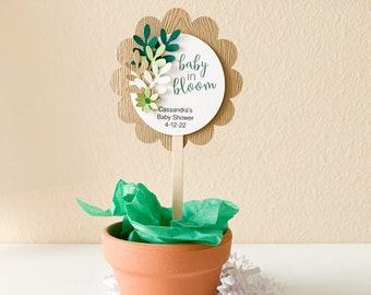 Baby in Bloom Plant Favor Pick, 3D Plant Pick, Sprinkle Plant Pick Favor Topper, Baby Shower Favor Tag, Succulent Plant Picks, Sip 'n See