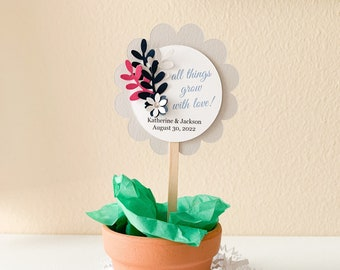 All Things Grow with Love Plant Pick, Succulent Plant Wedding Favor Pick, Personalized 3D Favor Pick, Wedding Cupcake Pick, 12 Picks