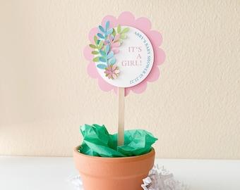 It's a Girl Plant Favor Pick, Baby Shower Favor Tag, Plant Pick Favor Toppers, 3D Plant Pick Favor, Succulent Plant Picks, 12 Picks
