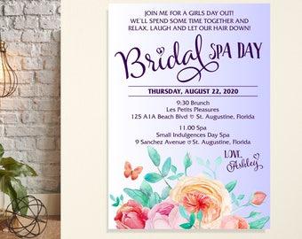 bachelorette spa day invitation bridesmaids spa day invite etsy