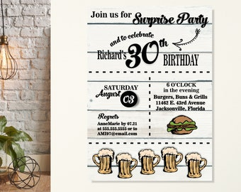 Cheers & Beers Birthday Invitation, Beers Burgers BBQ Birthday Invitations, Men's Sruprise Birthday Party, Adult Birthday, 30th Birthday
