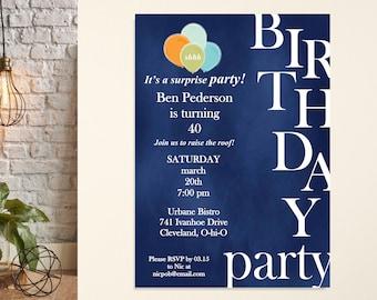 Birthday Party Invitation, Surprise Birthday Party, Milestone Birthday Invite, 30th Birthday Party, 25th Birthday, Adult Birthday Invite