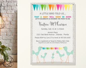 A Little Bird Told Us Baby Shower Invitation, Baby Announcement, Gender Neutral Shower, Baby Sprinkle, Baby Arrival Shower Invitation