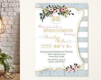 Women's Birthday Party Invitation, Floral Birthday Invite, Birthday Clebration, Birthday for Her, Classic Birthday, Fancy Birthday Invite