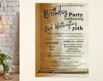 Men's Birthday Party Invitation, Rustic Birthday Party, Milestone Birthday Invite, 50th Birthday Party, 70th Birthday, Country Birthday